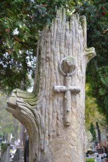 krzyż, pień drzewa,